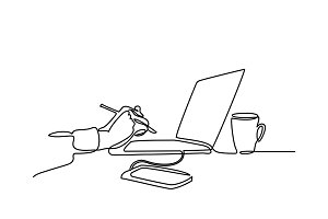 continuous line drawing of laptop computer coffee