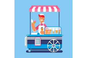 Trolley with ice cream. Ice cream cart market. Vector illustration