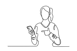 Woman holding mobile phone and pointing finger