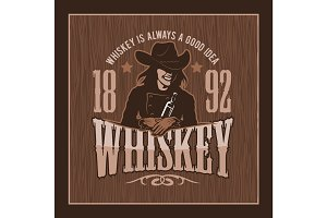 Vintage Whiskey Label with Girl - T-shirt Graphic