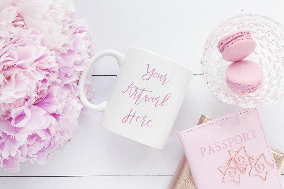Pink Peonies And Macaroon Mug Mockup