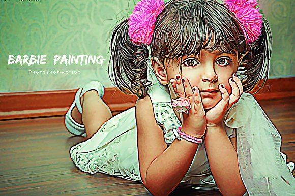 barbie painting photoshop action actions creative market