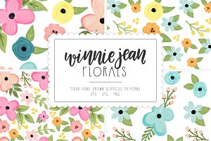 WinnieJean Florals Seamless Patterns