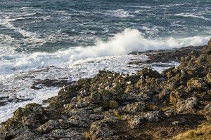Waves ashore on a rocky coast