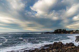 Waves ashore on a rocky coast