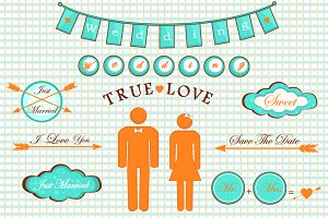 Bright Wedding set of illustrations.