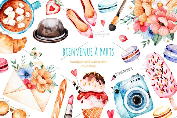 Bienvenue A Paris.Watercolor Set