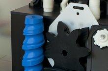 Plastic machine parts. Vertical imag