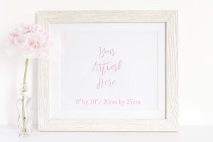 Whitewash wood frame mockup