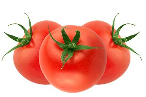three fresh tomatoes isolated
