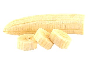 Peeled cut bananas isolated