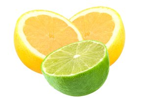 Cut lemon and lime fruits isolated