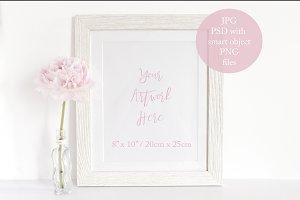 Pink Peony & Whitewash Frame Mockup