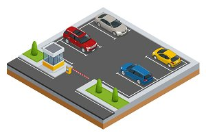 Isometric Cars in the parking lot or car parking. Urban infrastructure and car boom. Parking zone. Accessibility