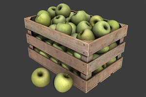 Crate with Green Apples