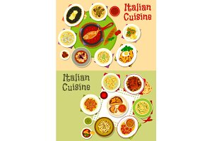 Italian cuisine tasty lunch dishes icon set design