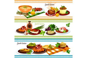 Greek cuisine traditional food banner set design