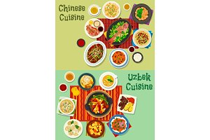 Chinese and uzbek cuisine asian dinner icon set