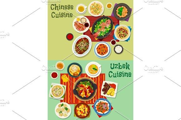 Chinese And Uzbek Cuisine Asian Dinner Icon Set