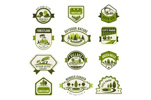 Park, green city garden, eco landscaping badge set