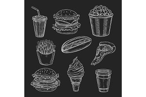 Fast food lunch meal chalk sketch on blackboard