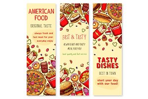 Fast food restaurant welcome banner set design