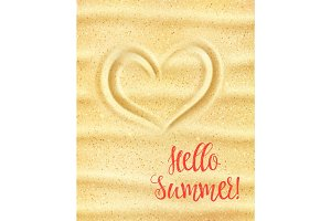 Hello Summer poster for holiday, vacation design