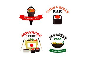 Japanese sushi and asian food isolated icon set
