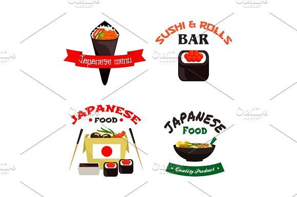 Japanese Sushi And Asian Food Isolated Icon Set