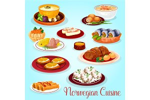 Norwegian cuisine dishes for lunch menu icon