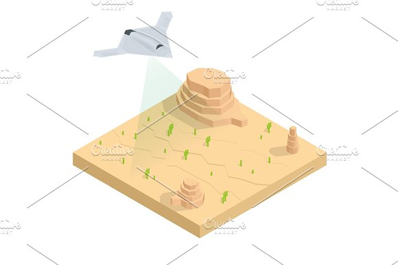 Isometric Long Range Strike-Bomber Aircraft Military Mission Isolated On Background Military Aircraft Transport