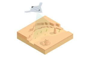Isometric Long Range Strike-Bomber. Aircraft military mission isolated on background. Military Aircraft transport.