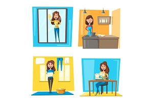 Household chores set with woman doing housework