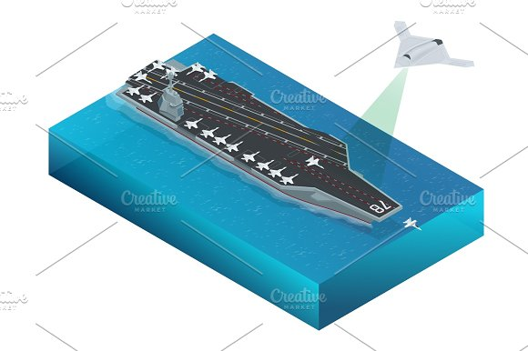 Isometric Long Range Strike-Bomber Aircraft Military Mission Isolated On Background Aircraft Assigned To The Nuclear-powered Aircraft Carrier CVN Military Sea Transport