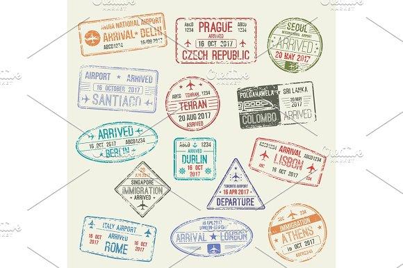 Passport Stamp Of International Travel Visa Design