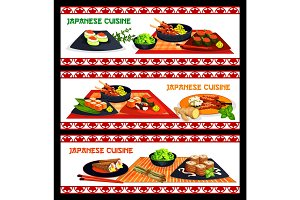Japanese cuisine sushi and seafood menu banner set