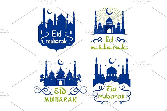 Ramadan Kareem Icon Set With Islamic Mosque