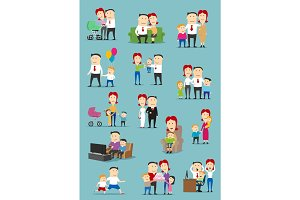 Family people with baby and kid cartoon set