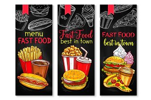 Fast food banner set with chalkboard menu