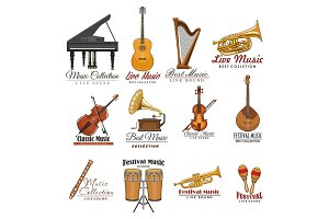 Musical instrument symbol set for music design
