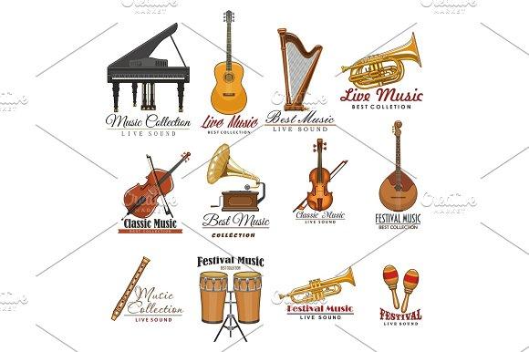 Musical Instrument Symbol Set For Music Design