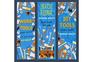 Repair and construction tool cartoon banner set