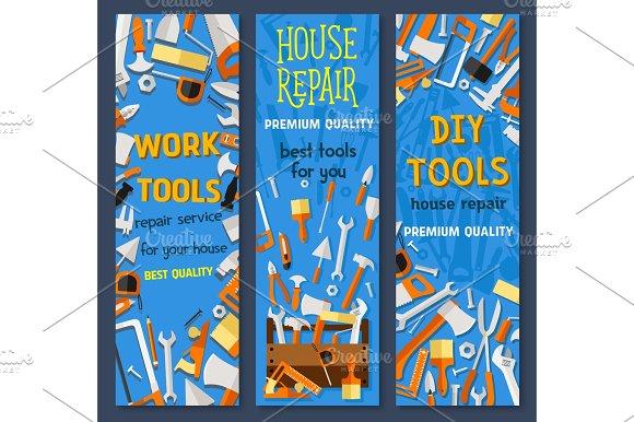 Repair and construction tool cartoon banner set