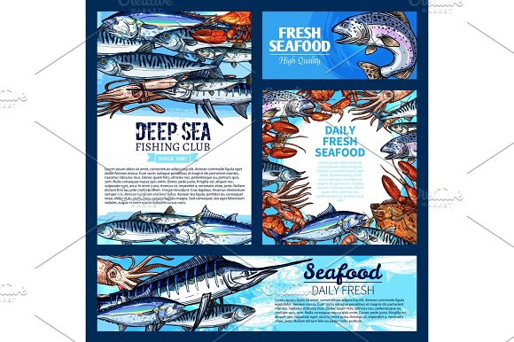 Fish And Seafood Fishing Club Banner Template Set