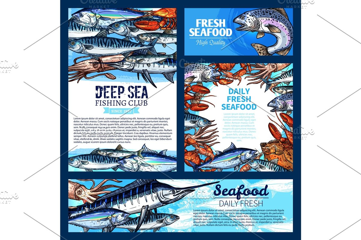Fish and seafood, fishing club banner template set