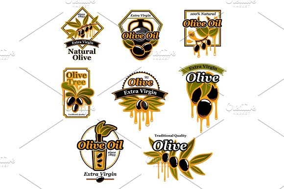 Olive Oil Premium Product Trademark Label Set