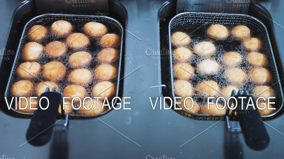 Donuts Are Prepared With Hot Oil In Deep Frying Baking Donuts Cooking A Cook
