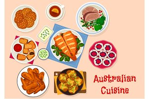 Australian cuisine traditional food icon design