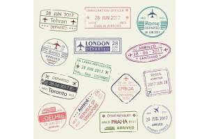 Passport stamp of travel visa isolated set design