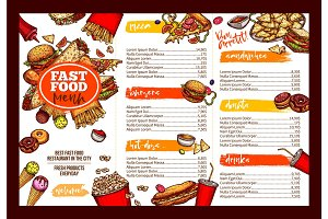 Fast food restaurant menu brochure template design